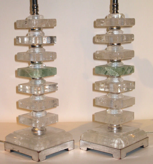 Pair Mid-Century Rock Crystal Table Lamps