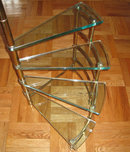 Mid-Century Fontana Arte Italian Brass & Glass Etagere Side Table