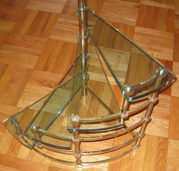 Mid-Century Fontana Arte Italian Brass & Glass Etagere Side Table