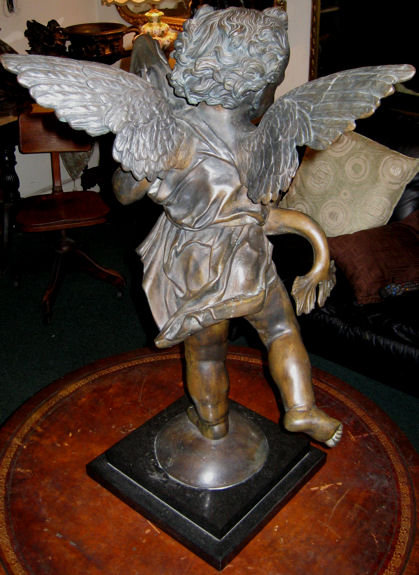 Putto with Dolphin Bronze After Verrocchio