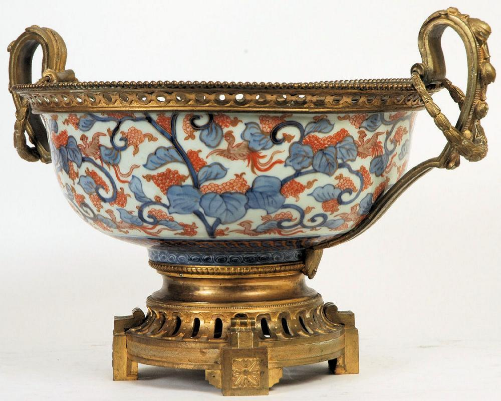Antique Japanese Imari Centerpiece Bowl with Bronze Handles & Mounts