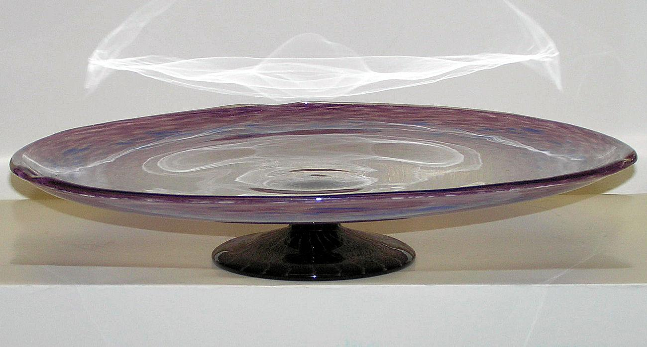 Schneider Art Deco Violet Glass Centerpiece Compote