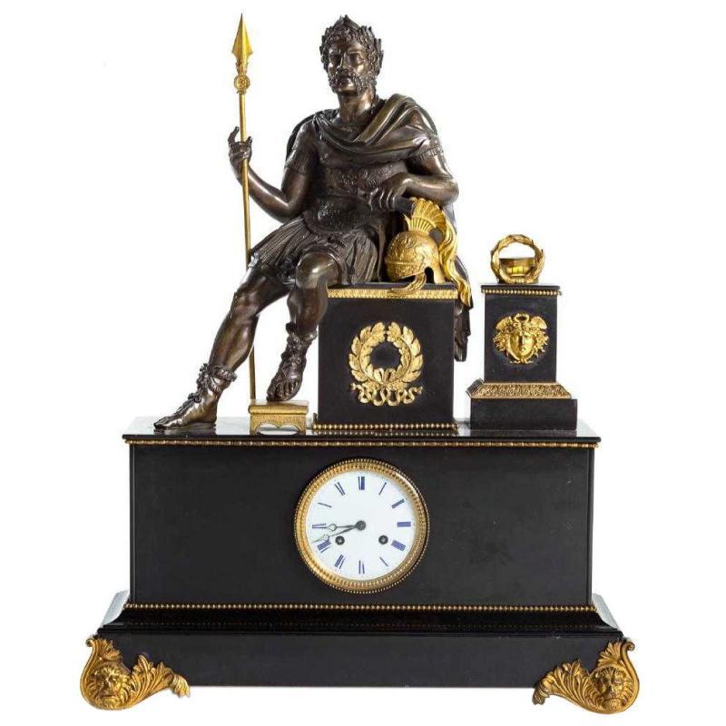 Antique Roman Neoclassical Figural Mantel Clock