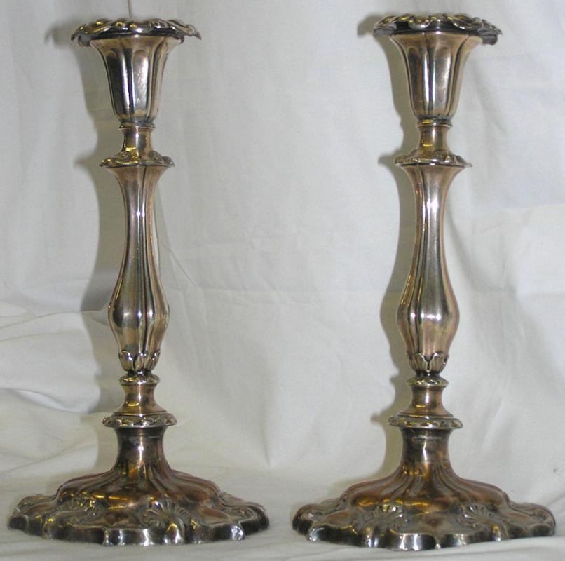 Pair Antique English Sheffield Plate Candlesticks (1843)