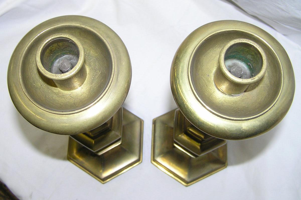 Pair Antique Brass Candlesticks by Gorham