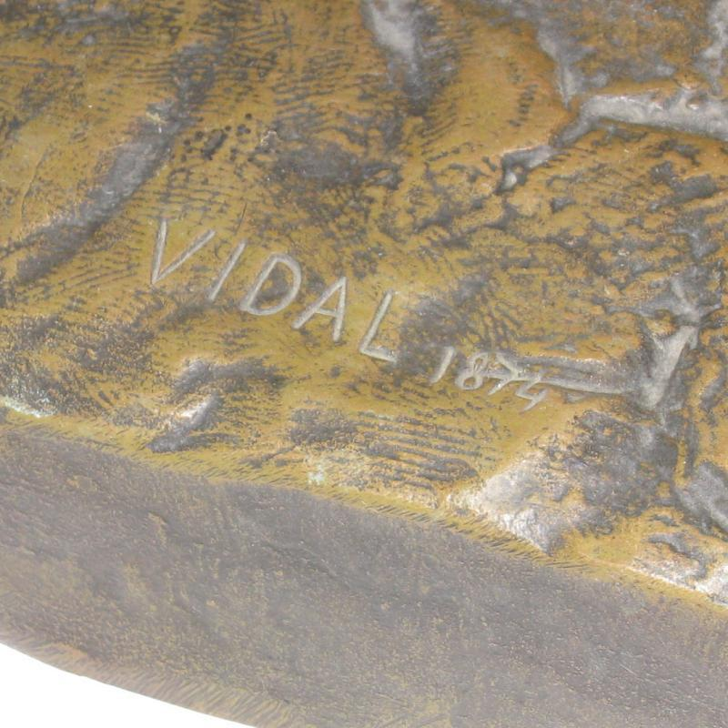 Louis Navatel Vidal (1831-1892) Roaring Lion Bronze Sculpture