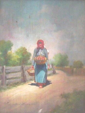 Hungarian Peasant Oil Painting by Imre Perlmutter (1892-1935)