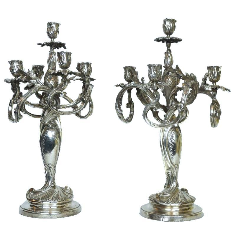 Pair Antique Silverplated Bronze Candelabra in French Rococo Style