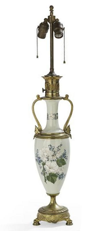 Antique Aesthetic Style Pate-Sur-Pate Porcelain Table Lamp