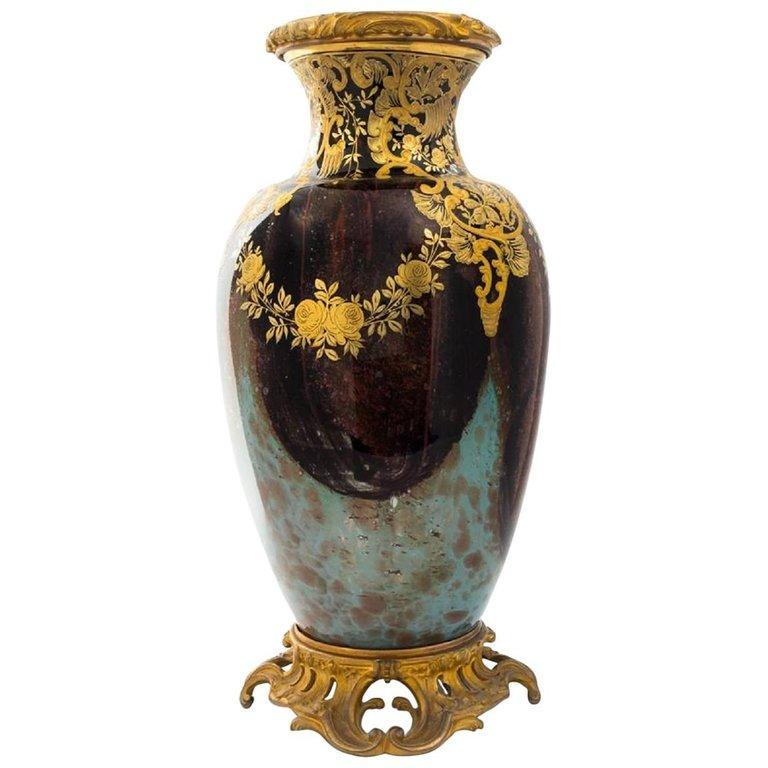 Antique Parcel Gilt and Bronze Mounted Mottled Glass Vase