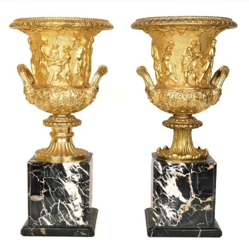 Pair Antique Bronze & Marble Vases After the Ancient Greek Medici