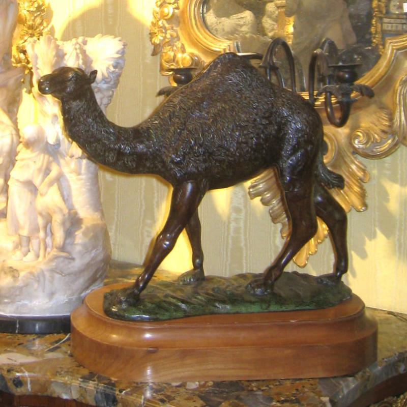 Arabian Camel Bronze Sculpture on Stand