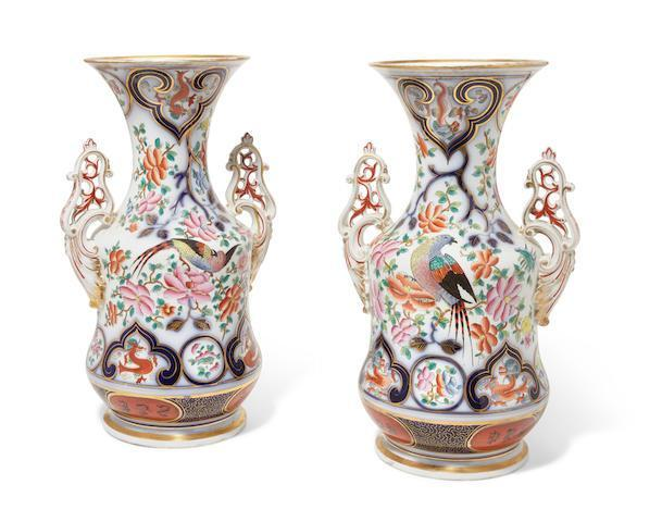 Pair Continental Porcelain Vases in the Japanese Style