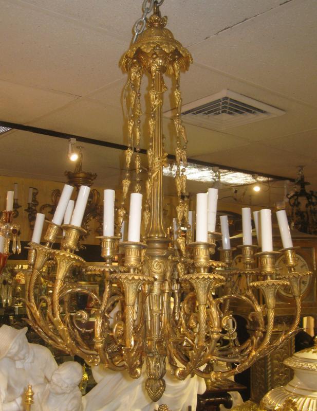 Louis XVI Style 18-Light Gilt Bronze Chandelier