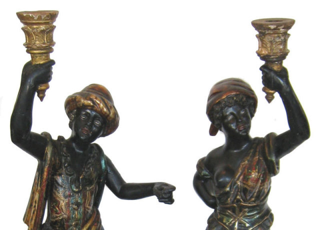 Pair Tall Venetian Blackamoor Table Lamps