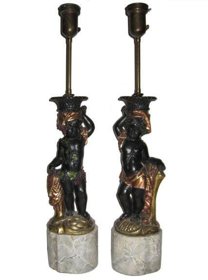 Pair of Old Blackamoor Cherub Table Lamps