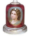 Bohemian Ruby Red Glass Portrait Vase