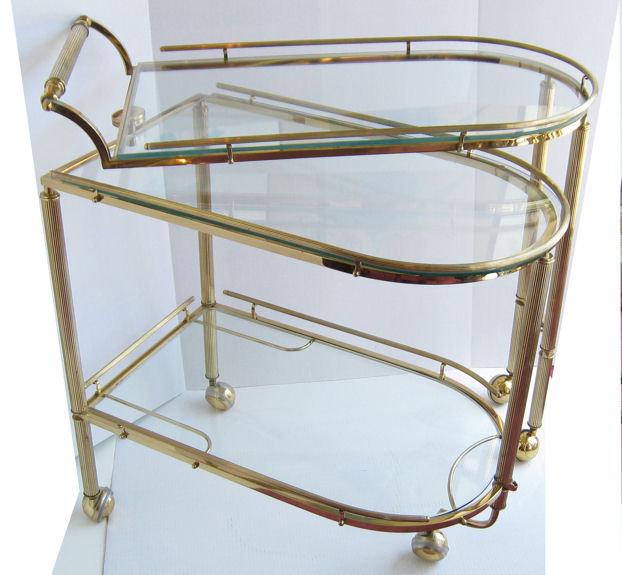Mid-Century Brass & Glass Bar Serving Cart