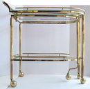 Mid-Century Brass & Glass Bar Serving Cart