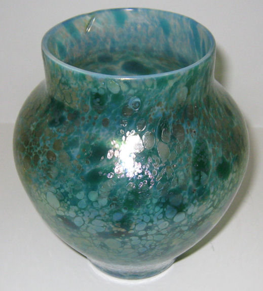Loetz Papillon Green Oil Spot Glass Vase