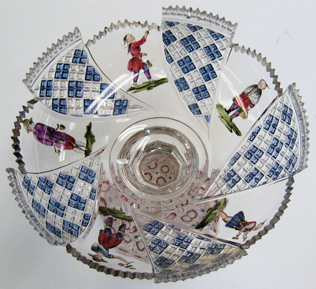 Bohemian Biedermeier Glass Compote