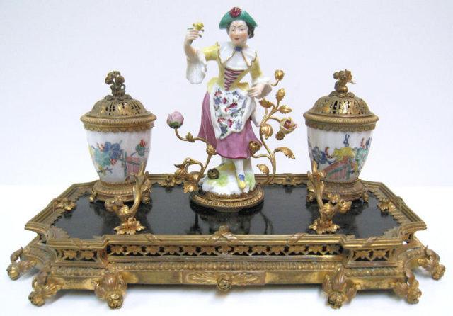 Continental Porcelain Bronze Brass Inkwell