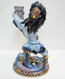 Emile Galle Faience Lion Candlestick