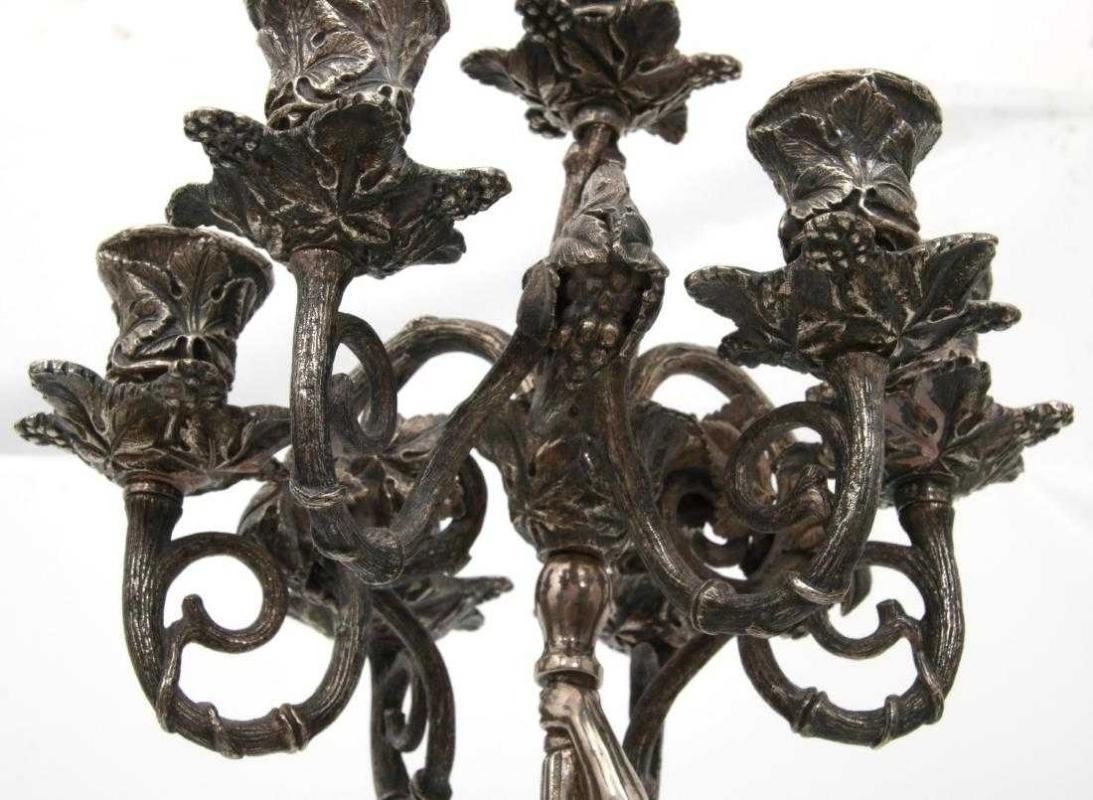 Pair Antique Figural Silverplated Bronze Candelabra