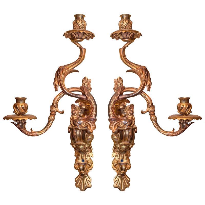 Pair Louis XV Rococo Style Gilt Bronze Sconces