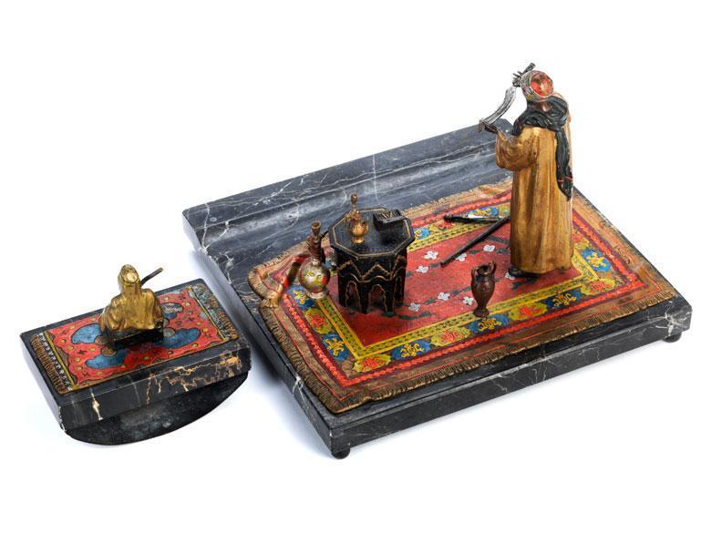 Anton Chotka Orientalist Bronze Desk Set with Ink Blotter