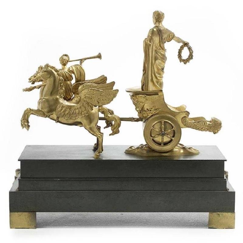 Napoleon as Victorious Roman Emperor on Chariot Bronze Sculpture