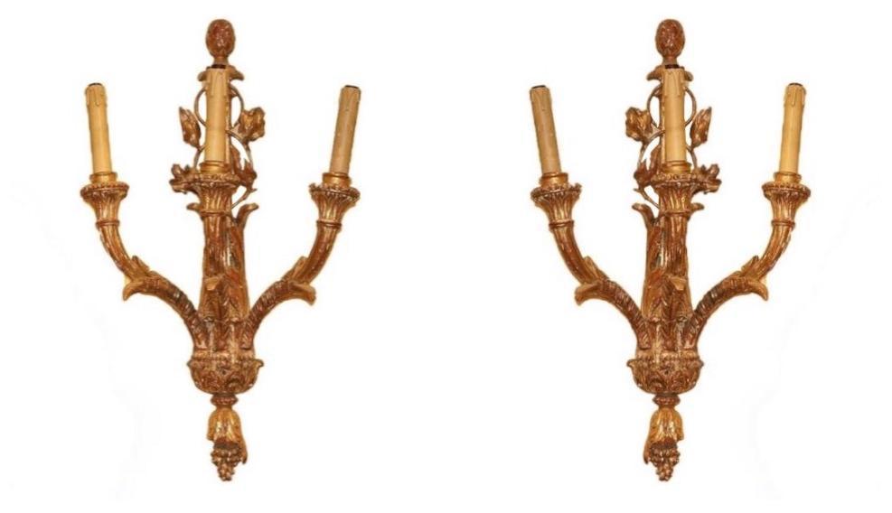 Pair Italian Rococo Giltwood Sconces