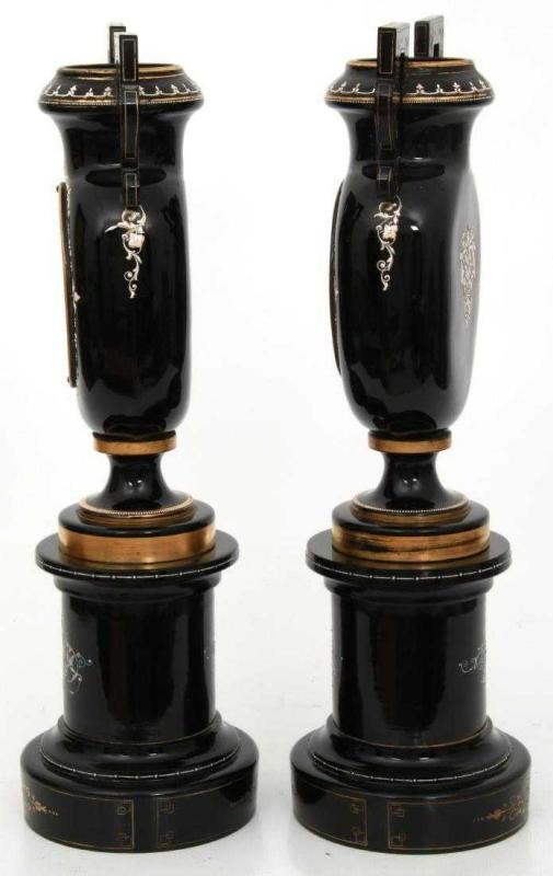 Pair Antique Continental Amethyst Glass Vases