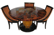 Macassar Ebony Dining Set Table & 6 Chairs