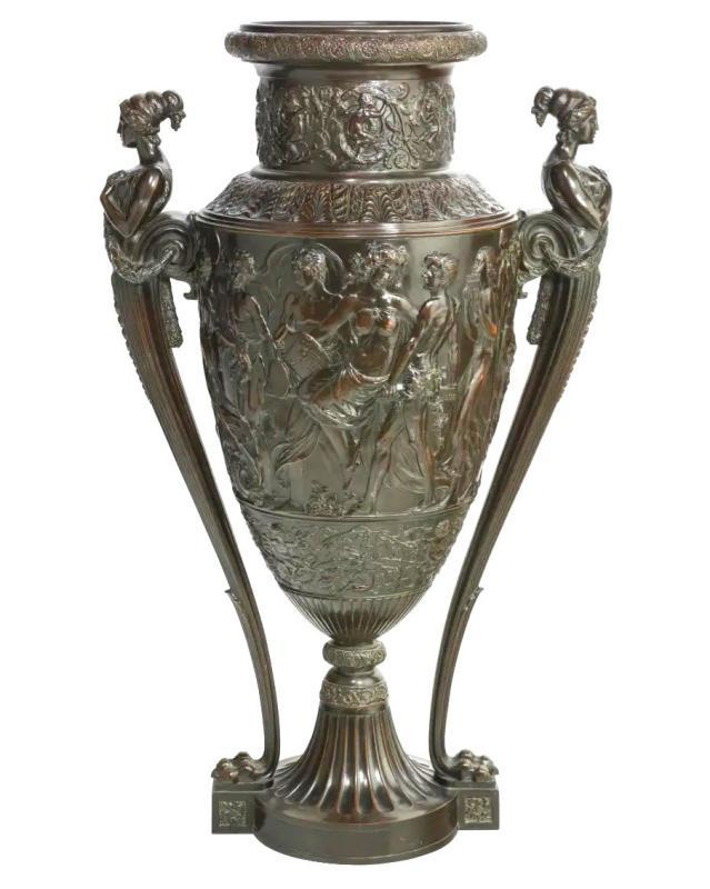 Palatial Neoclassical Bronze Vase with Bacchanal Theme