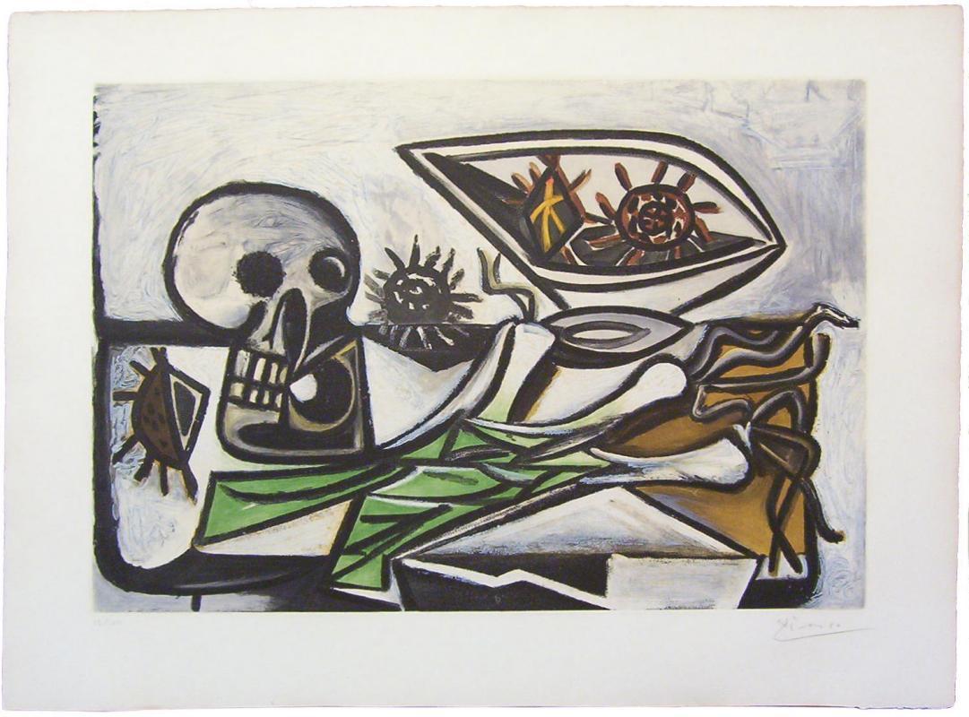 Nature Morte, Crane, Oursins et Oignon Aquatint After Picasso