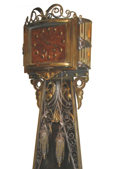 Art Deco Steel & Brass Longcase Clock