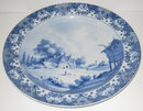 Antique Boch Freres Delft Style Blue & White Charger