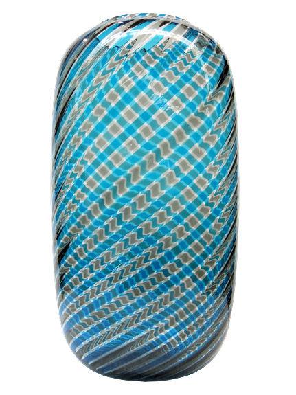 Venini Attr. Blue Canne Ritorte Glass Vase