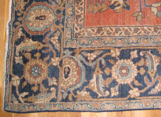 Antique 11x14 Ft Flatweave Persian Serapi Carpet