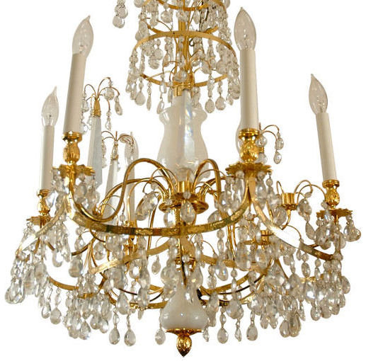 Russian Baltic Style Opaline Glass & Gilt Bronze Chandelier