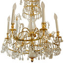 Russian Baltic Style Opaline Glass & Gilt Brass Chandelier