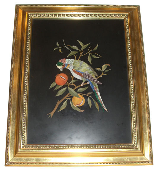 Pietra Dura Plaque Depicting Parrot in Fruit Tree
