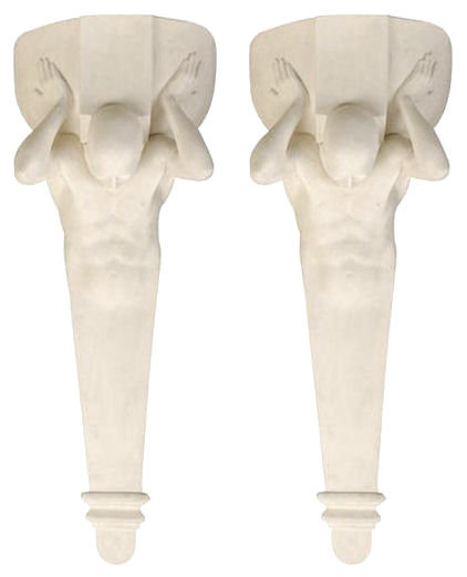 Pair of Figural Plaster Wall Sconces by Gerald Laing