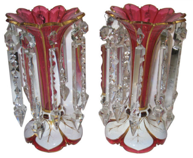 Pair of Moser White Red Cased Glass Lustres