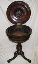 Antique Round Rosewood Tripod Stand Humidor or Teapoy