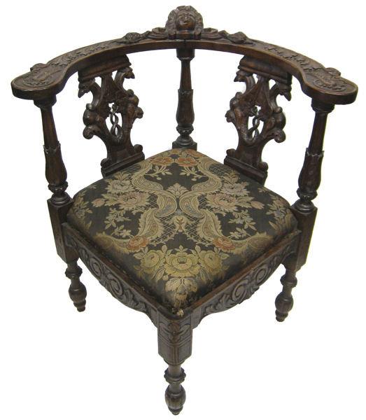Renaissance Revival Antique Carved Walnut Corner Chair - Antiques, Art, Vintage