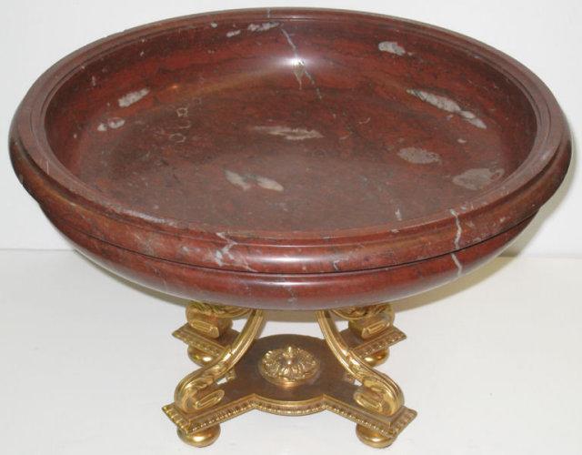 Antique Ormolu Bronze & Rouge Marble Tazza Centerpiece