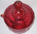 Antique Bohemian Ruby Red Glass Punchbowl & Ladle