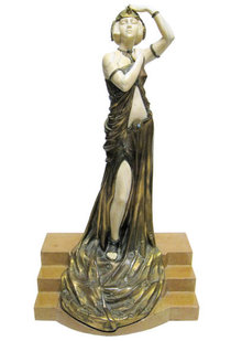 Marcel Andre Bouraine Art Deco Chryselephantine Bronze